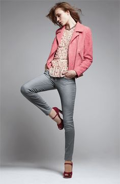 Gray jeans, print blouse, pink jacket, burgundy shoes