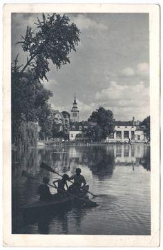 My grandmother's postcard from Szczecin (Poland), 1956