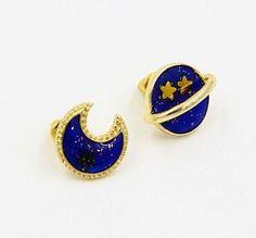 Sun moon stars saturn planet hipster space galaxy glitter pearl stud earrings lo