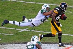 LaRon Landry pretty much executes a perfect horse collar tackle on Antonio Brown.