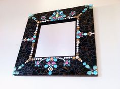 SOLD Mosaic Mirror with Beads and Stained Glass on Etsy, $225.00