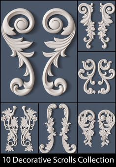 10 Decorative Scrolls Collection model architectural, available formats OBJ, ready for animation and other projects Wood Carving Designs, Wood Carving Art, Wood Art, Thermocol Craft, Molduras Vintage, Baroque Decor, Plaster Art, 3d Cnc, Ornaments Design