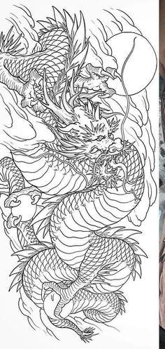 Dragon Tattoo Colour, Asian Dragon Tattoo, Dragon Sleeve Tattoos, Japanese Dragon Tattoos, Asian Tattoos, Tattoo Flash Art, Japanese Aesthetic, Tattoo Designs, Color