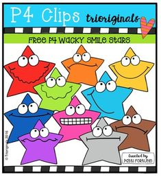 SMILE!You SILLY WACKY FREEBIE STARS!This clip art set includes 10 COLOR images. If you like this set I'd love to have your feedback…
