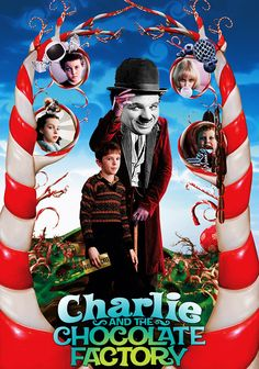 Charlie quit from his factory in Modern Times and went to work in a chocolate factory. The Black & White character was entering into the colorful world of Tim Burton.  Here's to photo-sho…
