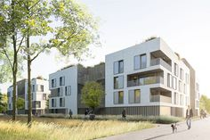 Discover recipes, home ideas, style inspiration and other ideas to try. Social Housing Architecture, Architecture Résidentielle, Building Facade, Building Design, Residential Complex, Woody Woodpecker, Social Housing, Urban Planning, Residential Architecture