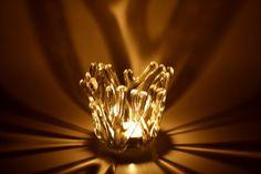 Tea Light Candle Holder Fused Glass OOAK