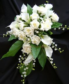 lillie of the valley bridal bouquets   White Rose and Lily of the Valley Silk Bridal Bouquet