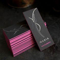 Creative business card for Maria Bernal - letterpress, pink + black <<< repinned by www.BlickeDeeler.de