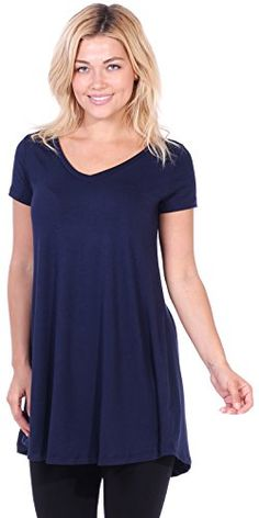 e432444118c Popana Women's Short Sleeve Tunic Top Loose Fit Shirt - W... Tunic Tops