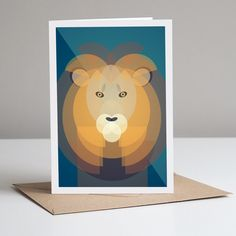 Mid Century Lion Greetings Card Plastic Waste, No Plastic, Mid Century Modern Design, Save The Planet, Blank Cards, Wall Art Prints, Mid-century Modern, Lion, Recycling