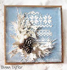 Blue pinecone Christmas card by Velvet Moth Studio