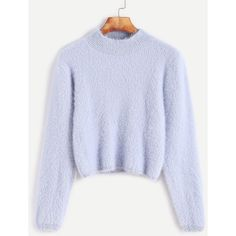 SheIn(sheinside) Pale Blue Crew Neck Crop Fuzzy Sweater (€18) ❤ liked on Polyvore featuring tops, sweaters, blue, long sleeve pullover, loose crop tops, fuzzy cropped sweater, crew neck sweater and long sleeve sweater