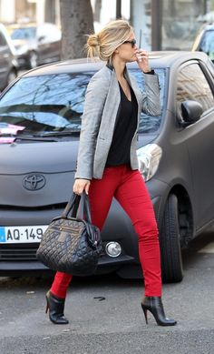 red denim / grey blazer / black boots + top / outfit