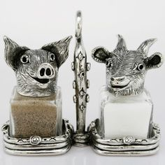 The charming Pig and Goat Salt and Pepper Shaker Set brings the whimsical spirit of Silvie Goldmark wildlife creations to your dining decor. Farm Kitchen Decor, Cute Kitchen, Kitchen Themes, Kitchen Ideas, Salt Pepper Shakers, Salt And Pepper, Dining Decor, Dinnerware Sets, Memorable Gifts
