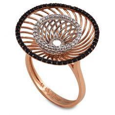 Εντυπωσιακό δαχτυλίδι ροζ χρυσό σπιράλ δίσκος Κ14, καρφωμένο με λευκά και μαύρα ζιργκόν   Κοσμήματα ΤΣΑΛΔΑΡΗΣ στο Χαλάνδρι #δισκος #σπιραλ #ζιργκον #χρυσος #δαχτυλίδι Stone, Rings, Rock, Ring, Stones, Jewelry Rings, Batu