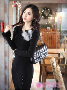 New Arrival Buttons Embellished Fashion Long Sleeve Sweater Black - BuyTrends.com