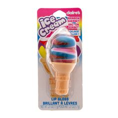 Rainbow Sherbet Ice Cream Cone Lip Gloss Necklace | Claire's