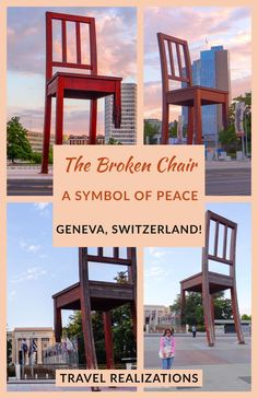 """This 12 meter high, broken chair, in front of European headquarters of the United Nations in Geneva, Switzerland echoes a simple message. This piece of artwork that symbolizes """"peace"""" is unique and a must-see if you are visiting Geneva in Switzerland. #TravelRealizations #Geneva #Switzerland #BrokenChair Hiking Europe, Europe Travel Tips, Travel Plan, European Destination, European Travel, Travel Around The World, Around The Worlds, Geneva Switzerland, Trip Planning"""