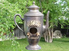 Tea Pot Bird house Coffee Pot Birdhouse Vintage Repurposed Steampunk Coffee Pot Upcycled Mixed Media