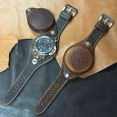 Size-24mm-Oily-Leather-Large-Cover-Watch-Strap-Band-WW2-Military-Style-063