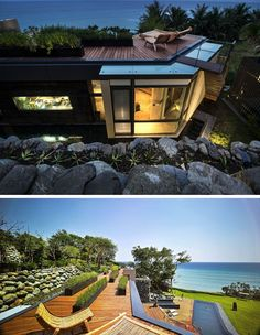 On the roof of this modern house is a rooftop deck, with ocean views as far as the eye can see. The plants in the black planters on the roof are a variety of herbs that are used in the kitchen.