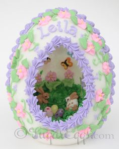 Photo of Sugar Egg with bunnies in a meadow from sugareggs.com.