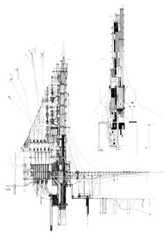 Mnemonic Landscape, Sketch Section and Elevation by Barry O'Shea / RIBA Part.02 (2013) | University College Cork, Ireland