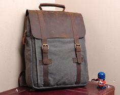 Gray Canvas Backpack  School Canvas Backpacks  Student Canvas Backpack  15''macbook pro/air bags  Packsacks