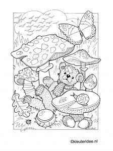 Kleurplaat herfst, paddestoelen,beer, kleuteridee.nl , autumn, mushrooms, bear, preschool coloring.
