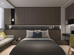 Grey Bedroom Decor, Bedroom Bed Design, Bedroom Furniture Design, Home Room Design, Home Bedroom, Home Interior Design, Contemporary Bedroom, Modern Room, Plafond Design