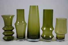 Scandinavian Riihimaki vases (H is for Home) Tags: green glass vintage finland finnish vases homewares riihimaki hisforhome finnishglass riihimaen Scandinavia Design, Scandi Home, Art Of Glass, Retro Art, World Best Photos, Lassi, Mid Century Design, Interior Accessories, Glass Design