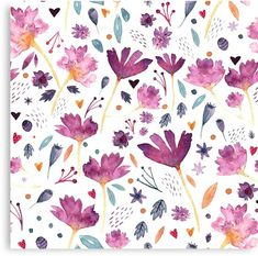 watercolor, pattern, flowers, floral, bouquet, blossom, botanical, nature, beautiful, cute, decoration, exotic, fresh, season, spring, leaf, mauve, purple, colorful, vivid, pop, bloom, fashion, decor, girly, abstract, interior, design, autumn, fall Watercolor Pattern, Watercolor Flowers, Mauve, Bloom Fashion, Cute Canvas, Bouquet, Girly, Canvas Prints, Art Prints