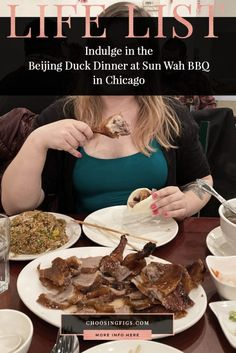 The Beijing Duck Dinner at Sun Wah BBQ in Chicago is a three-course duck feast featuringa whole roasted duck carved tableside, fried rice, and soup. Duck Soup, Roast Duck, Sushi Restaurants, Life List, Birthday Weekend, Hoisin Sauce, Figs, Places To Eat, Beijing
