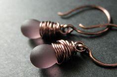 COPPER Earrings  Purple Drop Earrings with by TheTeardropShop, $22.00
