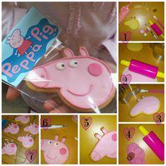 I like the tag idea Tortas Peppa Pig, Bolo Da Peppa Pig, Peppa Pig Cookie, Cumple Peppa Pig, Pig Cupcakes, Pig Cookies, Pig Birthday, 2nd Birthday Parties, Daughter Birthday
