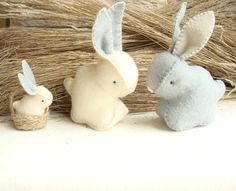 Family of Easter Bunnies Stuffed RabbitsToy Hand by sistersdreams, £23.40