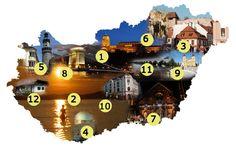 Itthoni csodák. Az olvasóink által a legvonzóbbnak és legérdekesebbnek megszavazott városokat, látnivalókat tüntettük fel hazánk térképén. J... Love Is, Heart Of Europe, Places Of Interest, How Beautiful, Hungary, Budapest, Countryside, Scenery, City