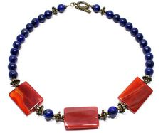 Red-Orange Blue Statement Necklace - Agate and Lapis Lazuli Necklace  - Semi Precious Stone Jewelry - Gemstone Jewelry - Beaded Necklace