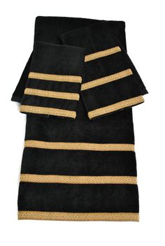 gold Bathroom Decor These timeless towels are great addition to your bathroom dcor. The three-piece Sherry Kline decorative towels set feature a cotton bath, hand, and fingertip towel, each embellished black and gold stripes. Bathroom Towel Decor, Bath Decor, Bathroom Ideas, Bath Tub Fun, Relaxing Bathroom, Black And Gold Bathroom, Taupe Bathroom, 1920s Bathroom, Small Bathroom