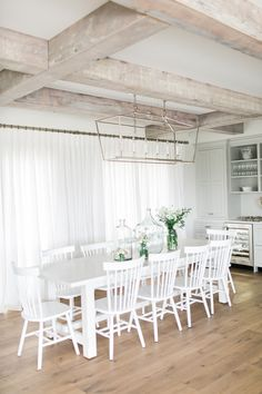 Jillian Harris' eating area + our Q2 100% Linen inverted pleat panels... nothing more lovely!  Buy online today!  We make it easy to order custom gorgeous drapery online! https://qdesigncentre.com/shop/drapery/100-linen/