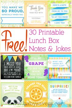 30 Free printable lunch box notes and jokes. Love this easy idea to surprise kids and remind them that they're special!