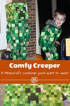 Does your kid love Minecraft? Then make this super comfy Minecraft Creeper Costume for Halloween or anytime play! Minecraft Halloween Costume, Creeper Costume, Minecraft Costumes, Diy Halloween Costumes For Kids, Minecraft Crafts, Boy Halloween Costumes, Boy Costumes, Holidays Halloween, Mine Minecraft