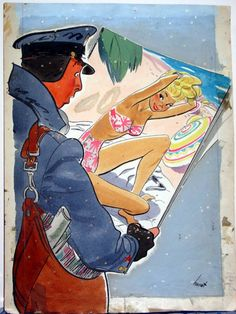 Earl Oliver Hurst - Saturday Home Magazine Cover- January 1947 Comic Art Vintage Cartoon, Vintage Art, Cartoon Drawings, Cartoon Art, Character Art, Character Design, Vintage Illustration Art, Commercial Art, Mid Century Art
