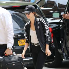 - Lily Aldridge styling her Paige belt with a track jacket, baseball cap and skinny jeans.