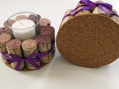 Wine Cork Candle/Votive Holders with Purple RibbonSet Wine Craft, Wine Cork Crafts, Wine Bottle Crafts, Wine Cork Candle, Wine Cork Art, Diy Candle Holders, Diy Candles, Wein Parties, Wine Cork Projects
