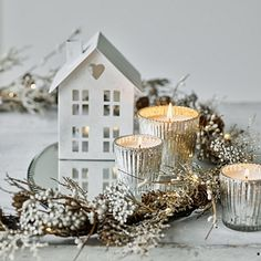 Give your home a cosy feel with rustic tea light, hurricane and luxurious lantern candle holders from The White Company. Silver Christmas, Christmas Home, Vintage Christmas, Christmas Wreaths, Christmas Design, Christmas Table Decorations, Decoration Table, Tree Decorations, House Candle Holder