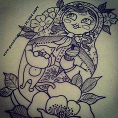 Flowers And Matryoshka Tattoo Print