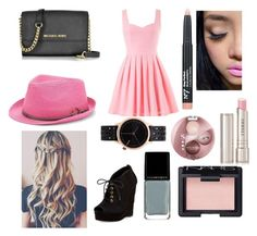 """""""pink"""" by kellypbb ❤ liked on Polyvore featuring beauty, By Terry, Bourjois, Illamasqua, Diane Von Furstenberg, Michael Kors, NARS Cosmetics, Komono and Peter Grimm"""