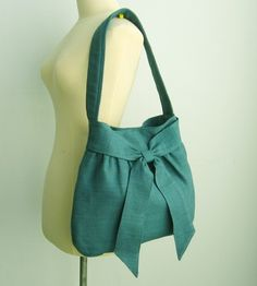 Sale Teal Hemp/Cotton Bag tote purse messenger work by tippythai